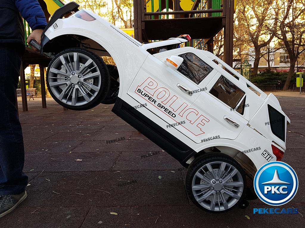 pekecars coche eléctrico de policía blanco 12v-016