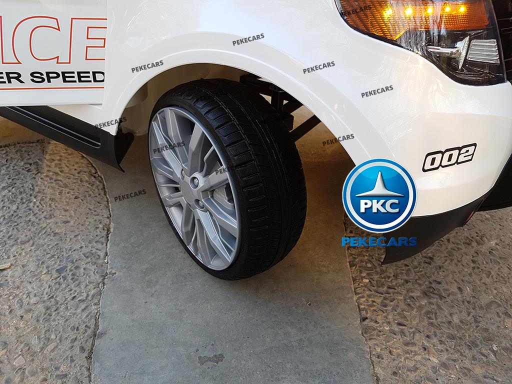 pekecars coche eléctrico de policía blanco 12v-017