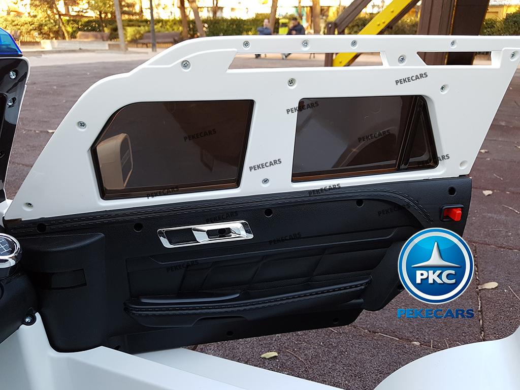pekecars coche eléctrico de policía blanco 12v-018