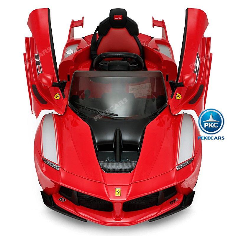 Coche electrico Infantil Ferrari FXX-K Rojo Pintado con asiento acolchado en piel width=