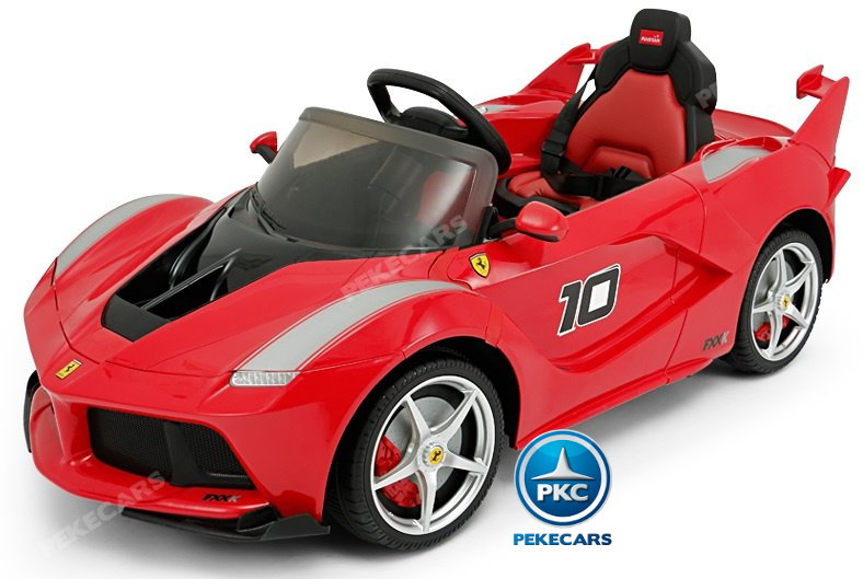 Coche electrico para niños Ferrari FXX-K Rojo Pintado con luces LED frontales width=