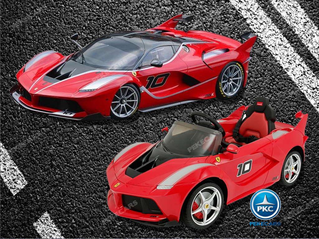 Coche electrico para niños Ferrari FXX-K Rojo Pintado Comparacion con el coche real width=
