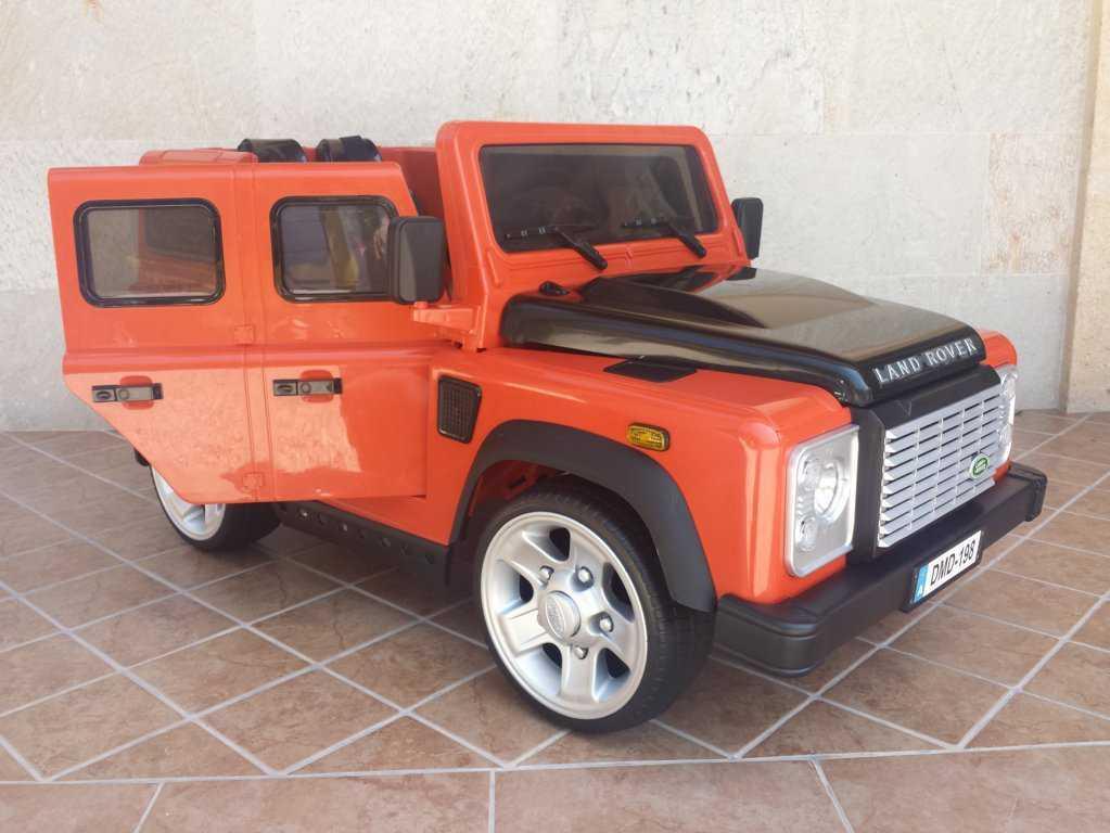 Todoterreno electrico para niños Land Rover Defender Naranja perspectiva der