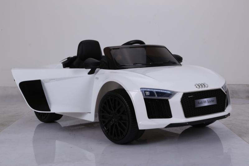 Audi para ninos R8 Spider 12V 2.4G White vista derecha con apertura de puerta