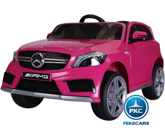 Mercedes A45 12V 2.4G RC rosa frontal lateral