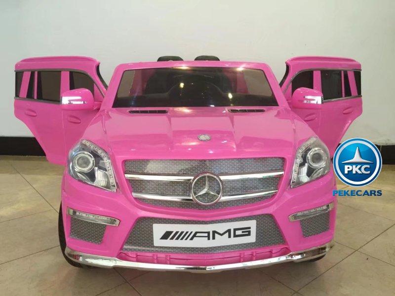 Mercedes GL63 rosa 12V 2.4G vista frontal con apertura de puertas