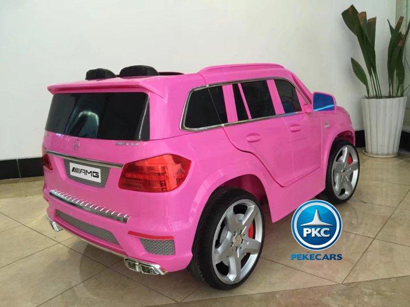 Todoterreno Mercedes GL63 rosa vista lateral trasera