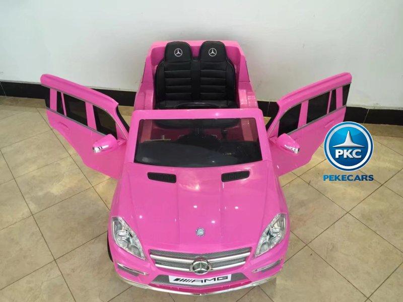 Mercedes GL63 infantil  rosa vista aerea con apertura de puertas