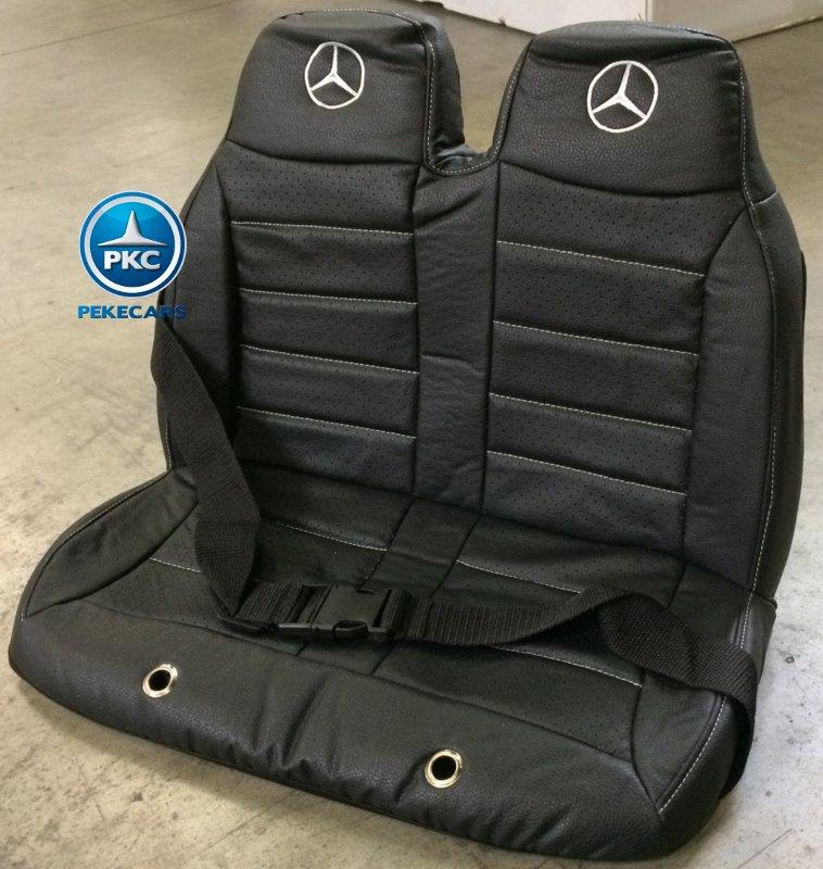 Mercedes GL63 infantil asiento en piel doble con logos de Mercedes width=