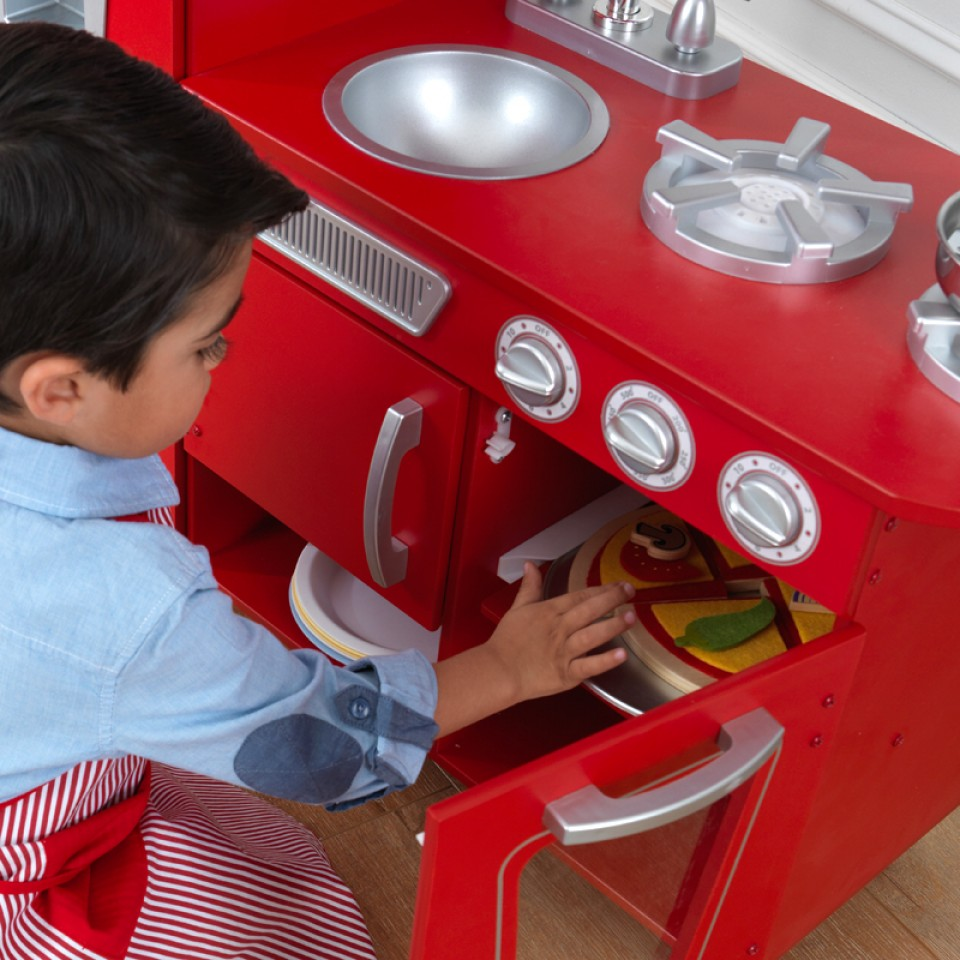 Detalle almacenaje de Kidkraft Cocina Estilo Retro Color Roja 53173 width=