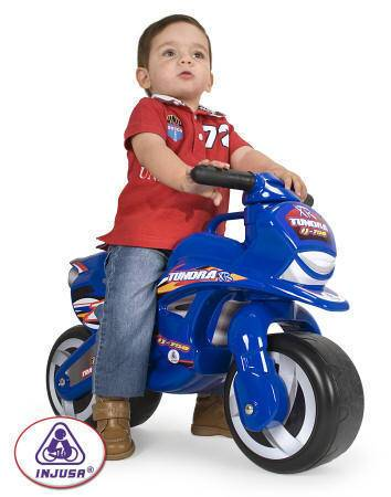 Moto azul para niño width=