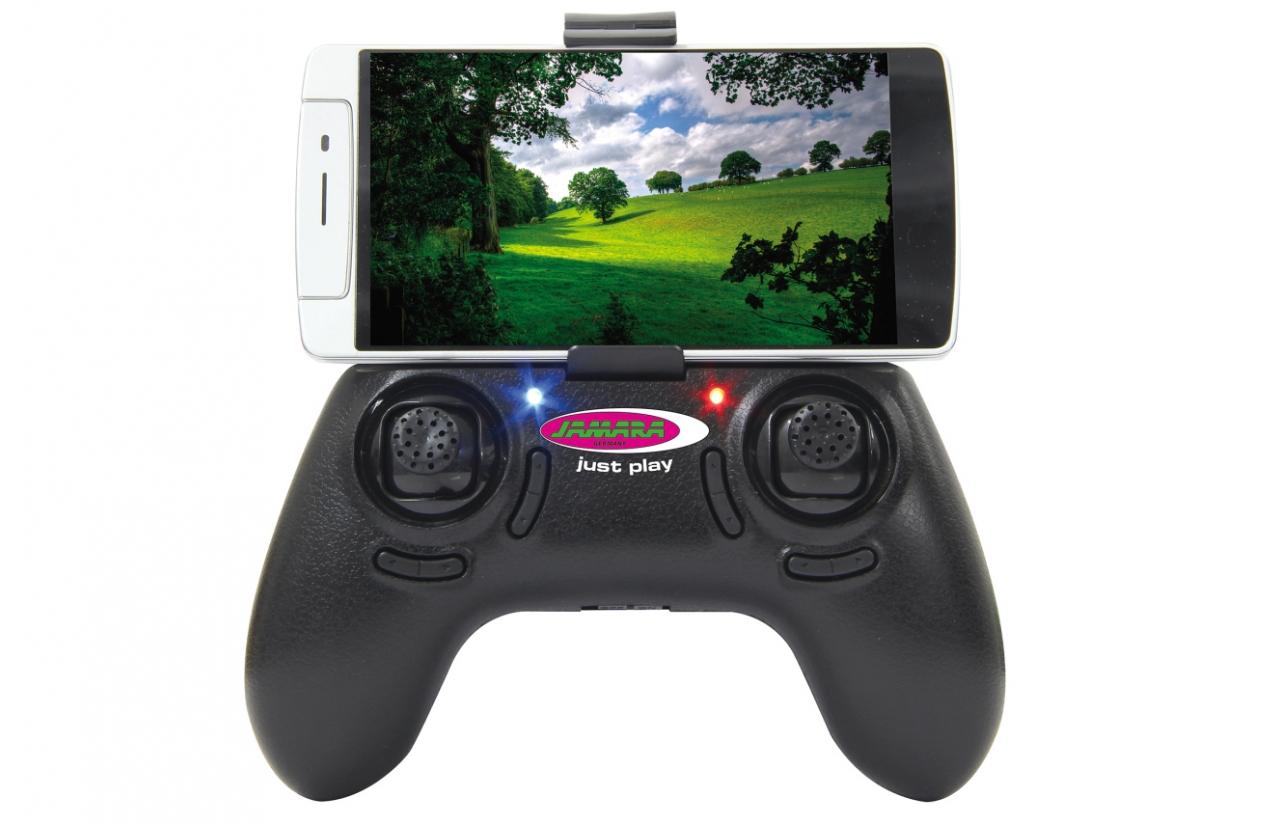 mando radio control dron con móvil conectado width=