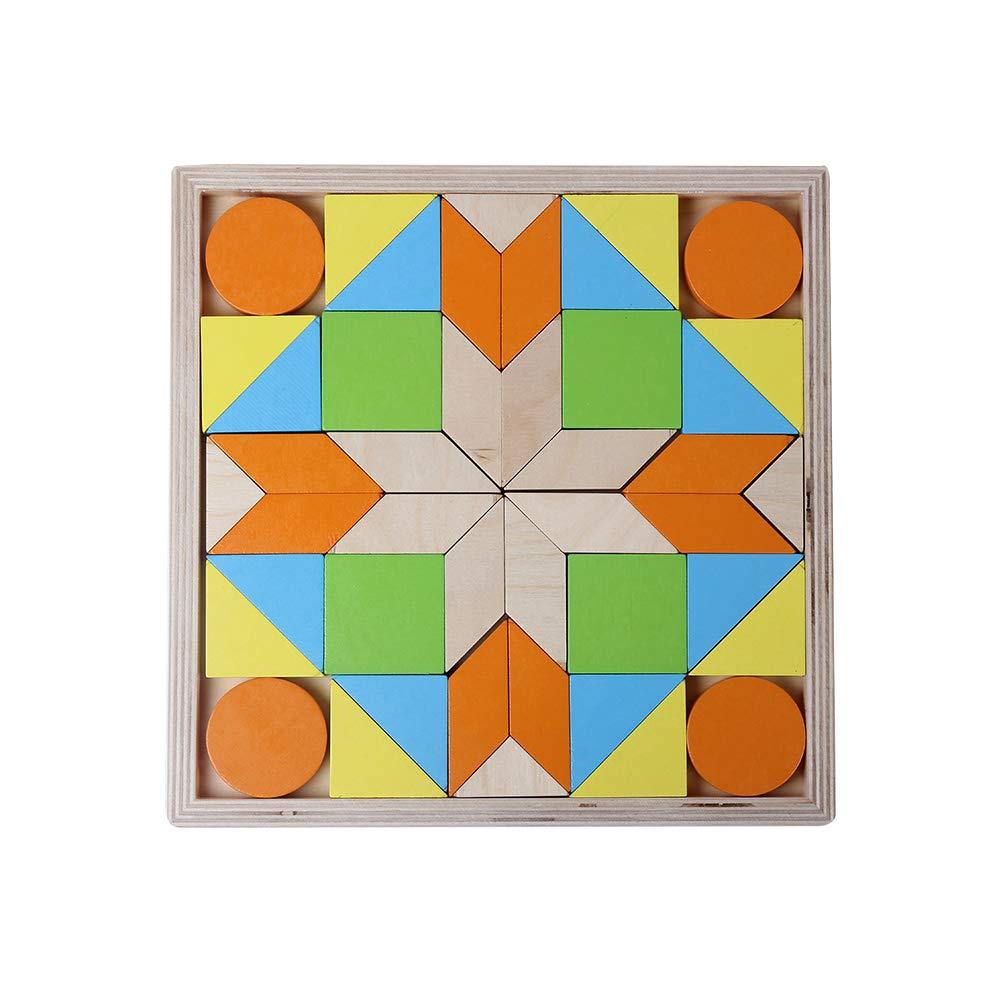 juguetes de madera mosaico