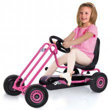 Kart a pedales Lightning Rosa con niña