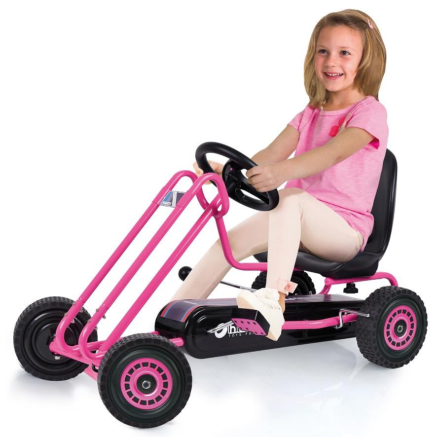 Kart a pedales Lightning Rosa - vista con niño width=