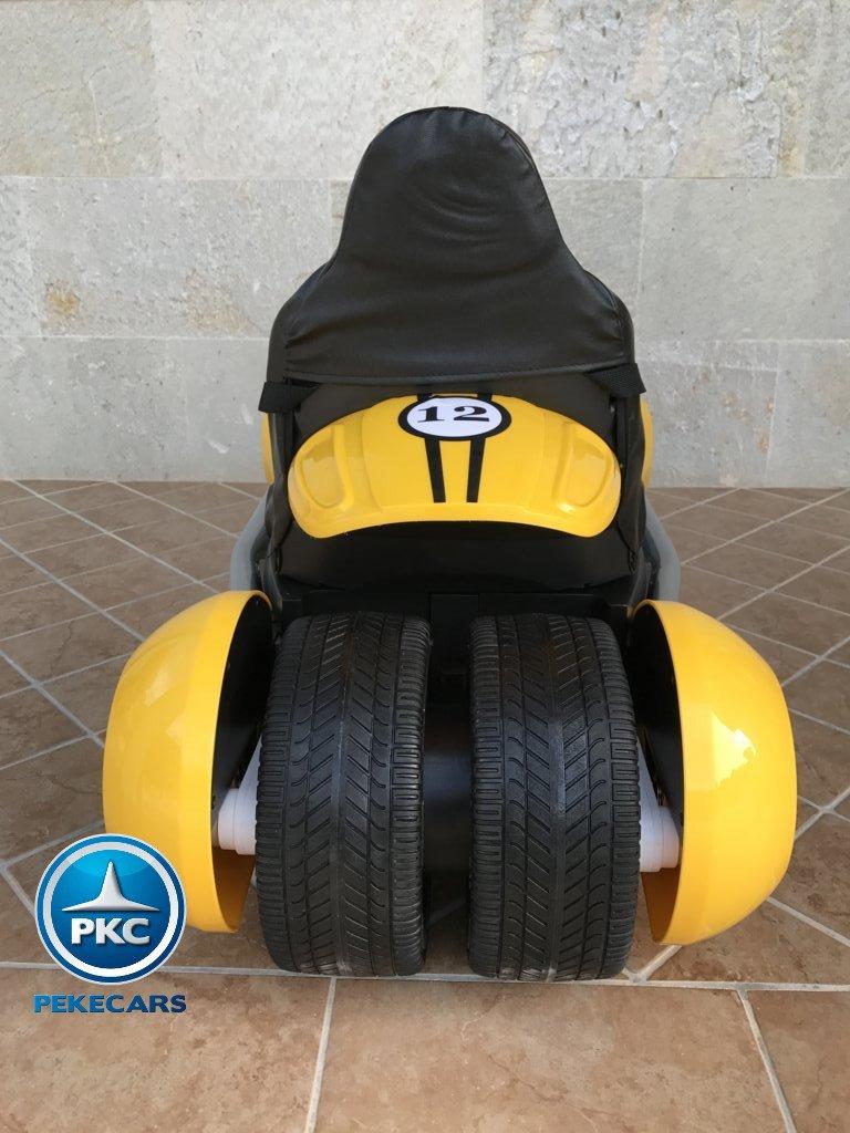 Parte trasera del pekecars go-kart 12v 2.4g rc amarillo width=