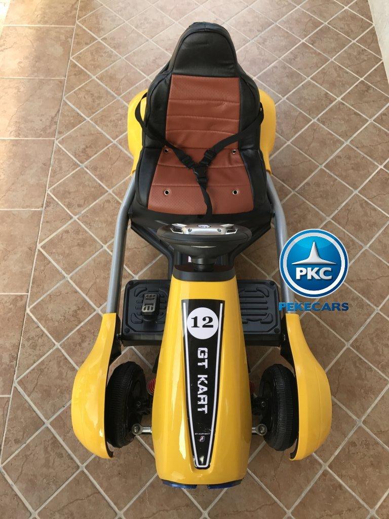 Vista frontal del pekecars go-kart 12v 2.4g rc amarillo width=