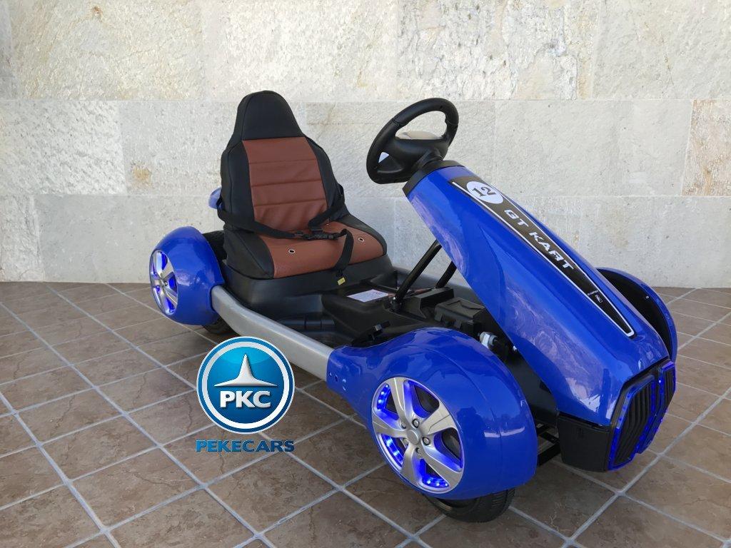 Vista lateral Pekecars go-kart 12v 2.4g rc azul width=