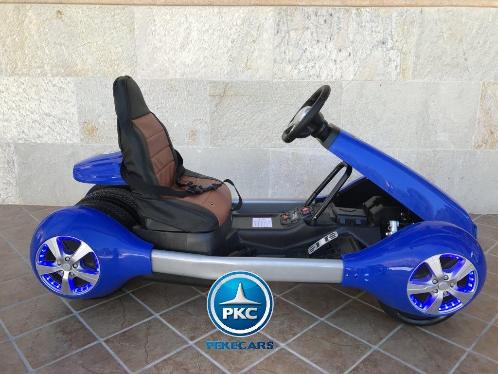 Vista lateral derecha del Pekecars go-kart 12v 2.4g rc azul width=