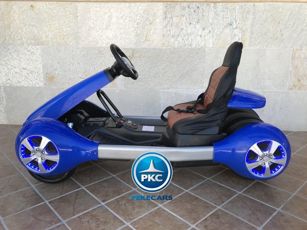 Vista lateral izquierda del Pekecars go-kart 12v 2.4g rc azul width=