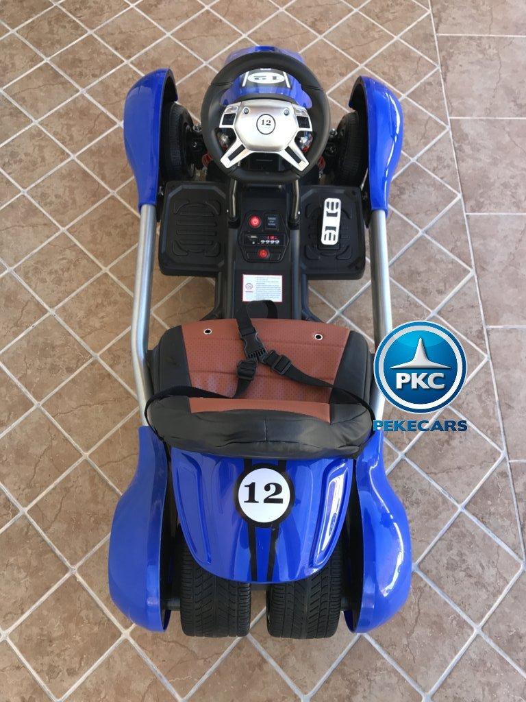 Imagen con perspectiva total desde arriba del Pekecars go-kart 12v 2.4g rc azul width=