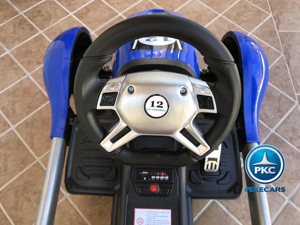 Volante Pekecars go-kart 12v 2.4g rc azul width=