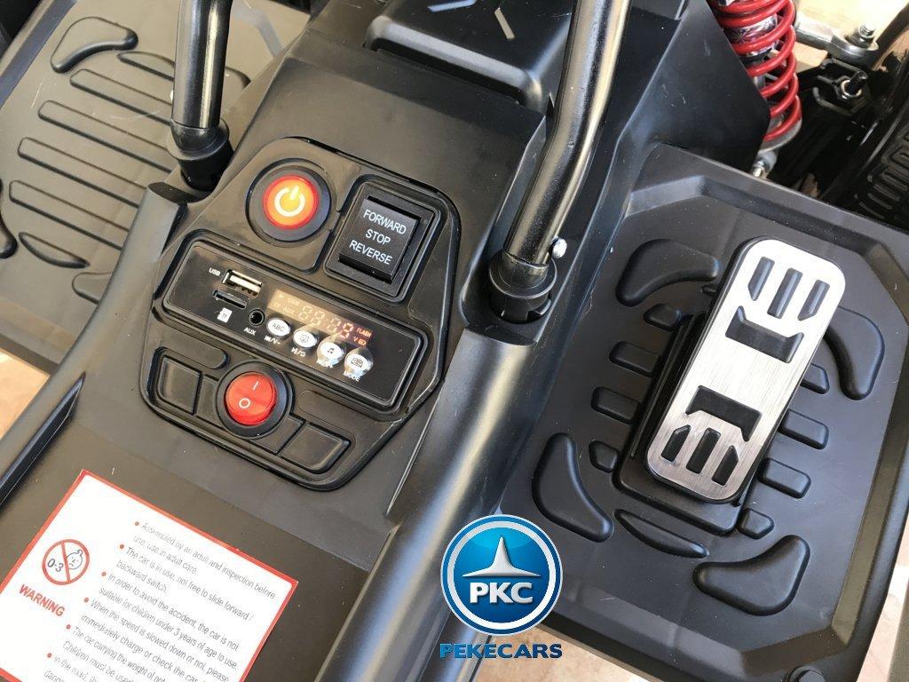 Detalles conector para usb, mp3 y tarjeta SD Pekecars go-kart 12v 2.4g rc azul width=