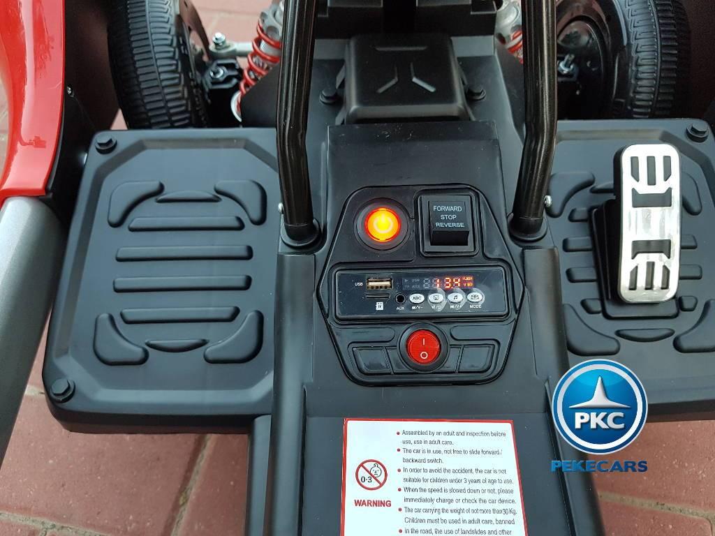 Detalle botón de arranque y accesorios del Pekecars go-kart 12v 2.4g rc rojo width=