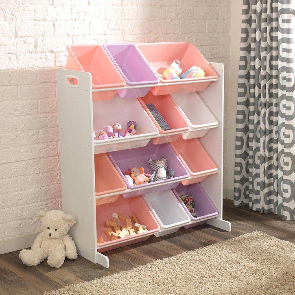 Kidkraft estanteria blanca con cajones en color pastel - Cajones para estanterias ...