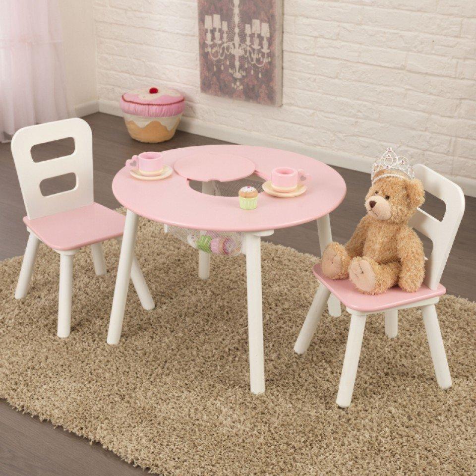 Kidkraft juego de mesa con dos sillas en blanco y rosa 26165 ...