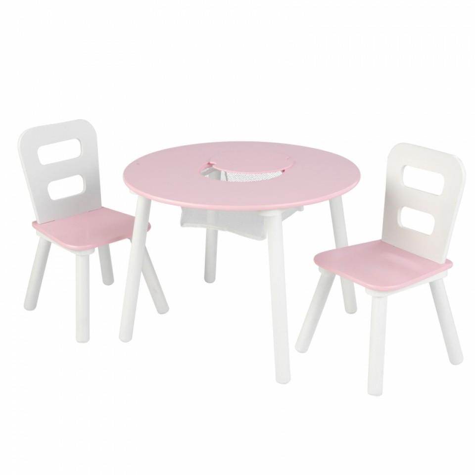 Kidkraft juego de mesa con dos sillas en blanco y rosa - Mesa redonda con sillas ...
