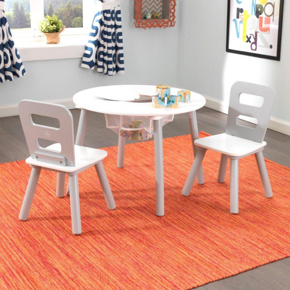 Kidkraft juego de mesa con dos sillas en gris y blanco - Mesa redonda con sillas ...