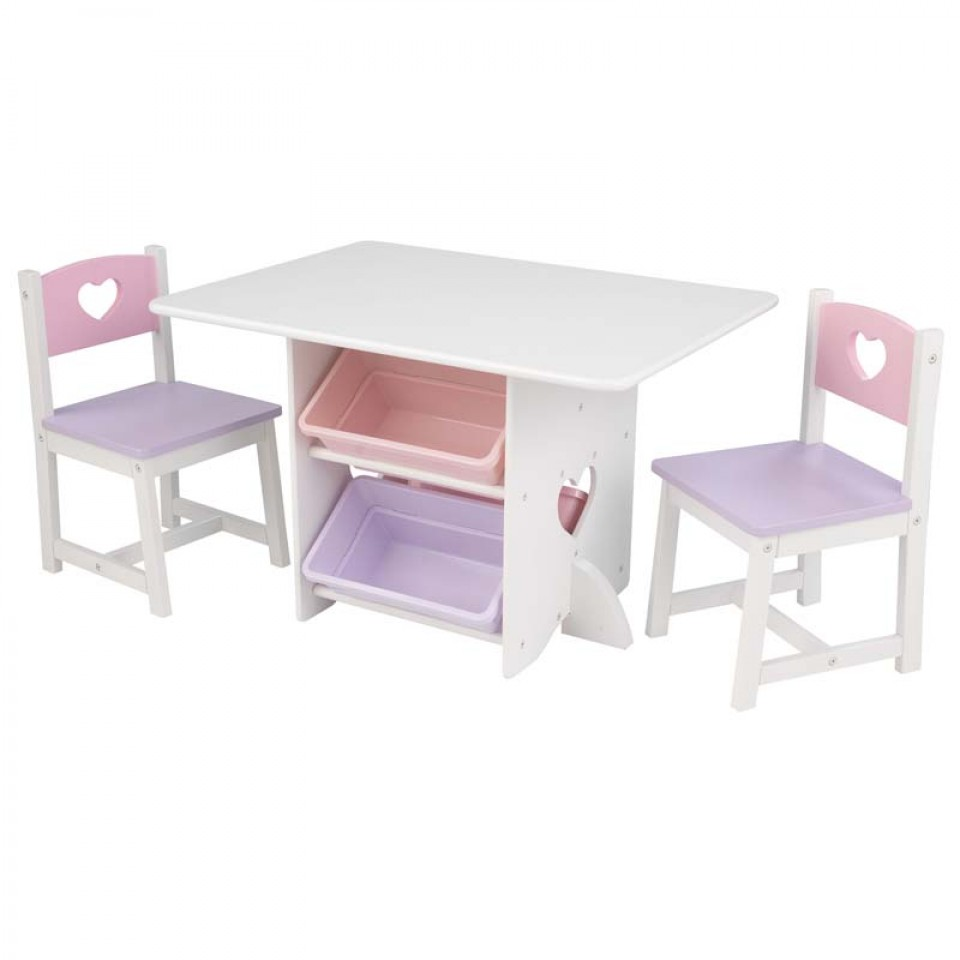 kidkraft juego de mesa y sillas modelo corazon en colores pasteles con fondo blaco