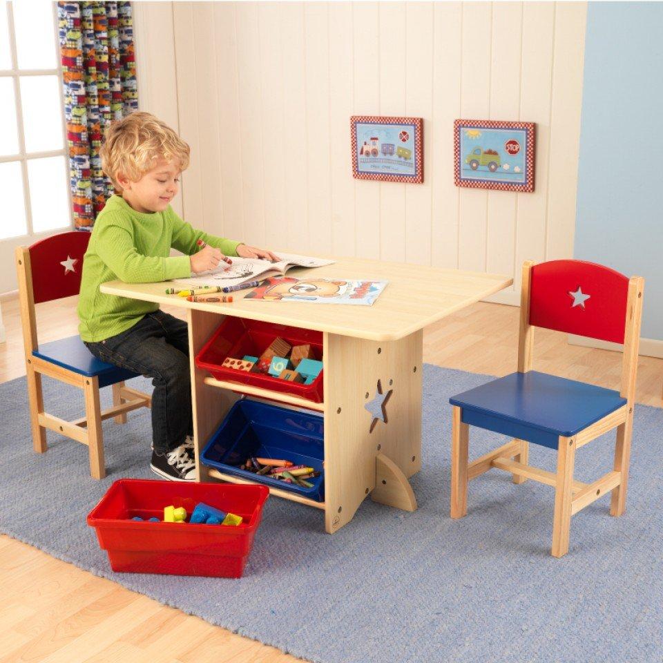 kidkraft juego de mesa y sillas modelo estrella en colores primarios vista principal