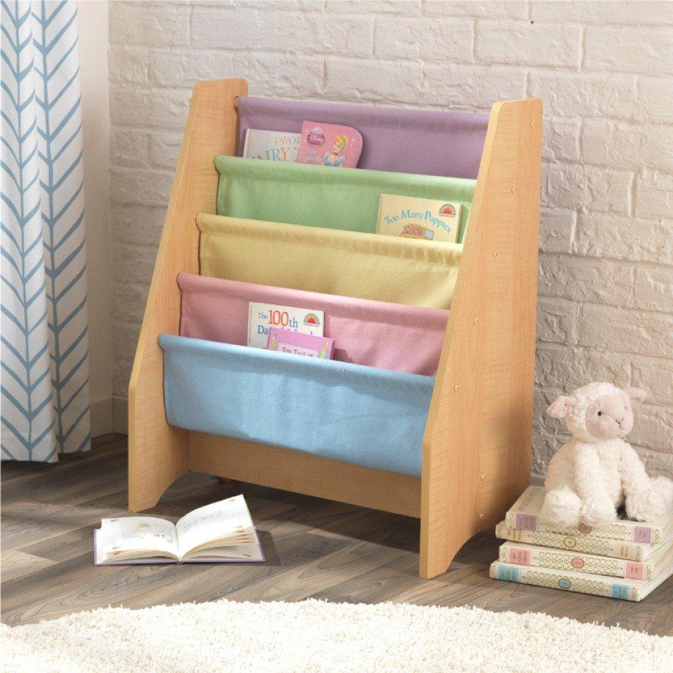 Kidkraft Librero De Madera Y Tela En Colores Pasteles 14225  # Pequenos Gigantes Muebles