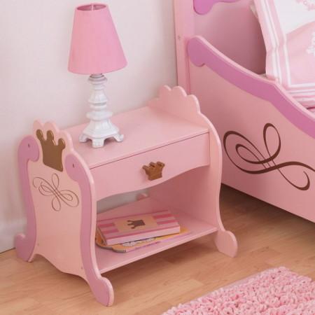 mesa de noche rosa infantil