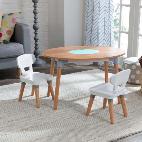 Kidkraft juego de mesa y sillas Mid Century 26195 - vista set cajon almacenaje