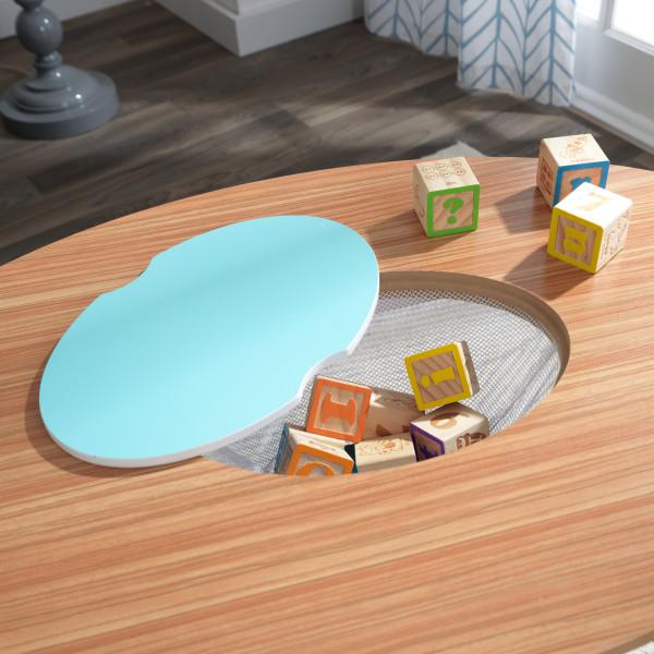 Kidkraft juego de mesa y sillas Mid Century 26195 - zoom almacenaje abierto con juguetes