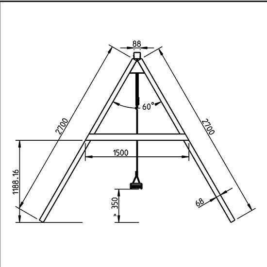 Columpio doble apoyado para torres de 1,5 m de altura - grafico