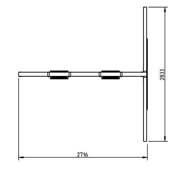 Columpio doble apoyado para torres de 1,5 m de altura - vista grafico aereo