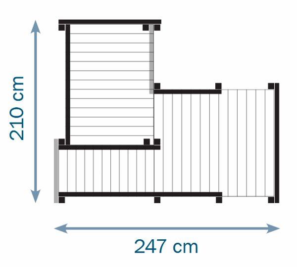 Parque infantil Palazzo XL - grafico medidas totales