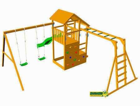 Parque Infantil Teide con Columpio Doble y escalera de mono - vista trasera grafico
