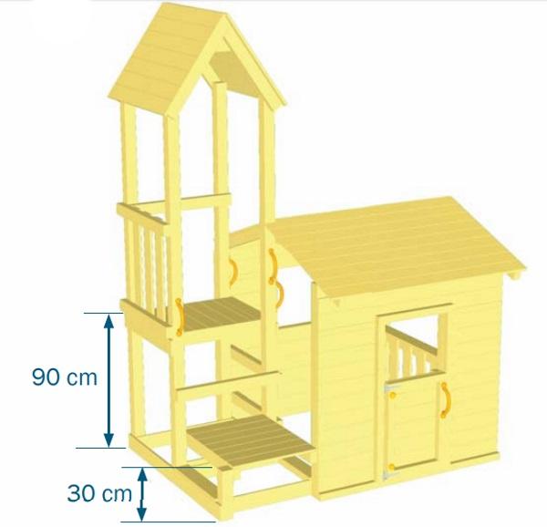 Parque infantil Lookout M - vista plano medidas plataformas