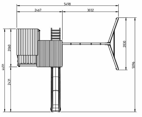Parque infantil Palazzo XL con columpio doble - grafico medidas vista aerea