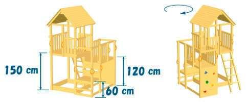 Torre de Madera Infantil Penthouse XL con Challenger XL - Vista grafico torre