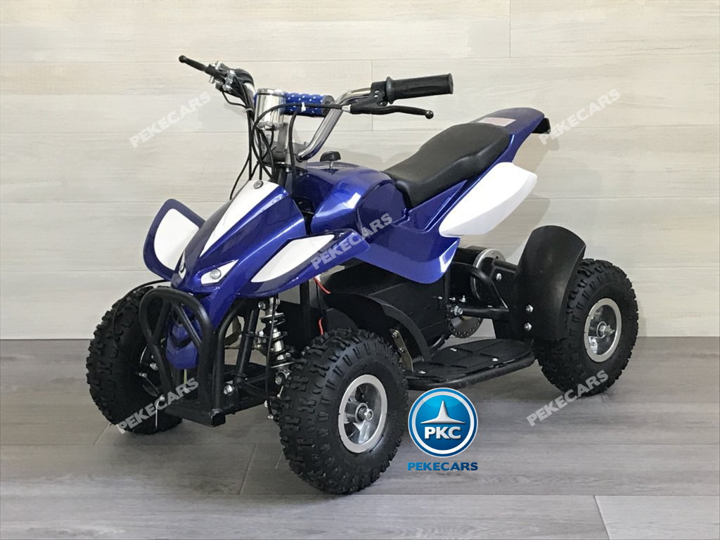 QUAD ELECTRICO MINI ATV AZUL BLANCO 36V LATERAL IZQUIERDO