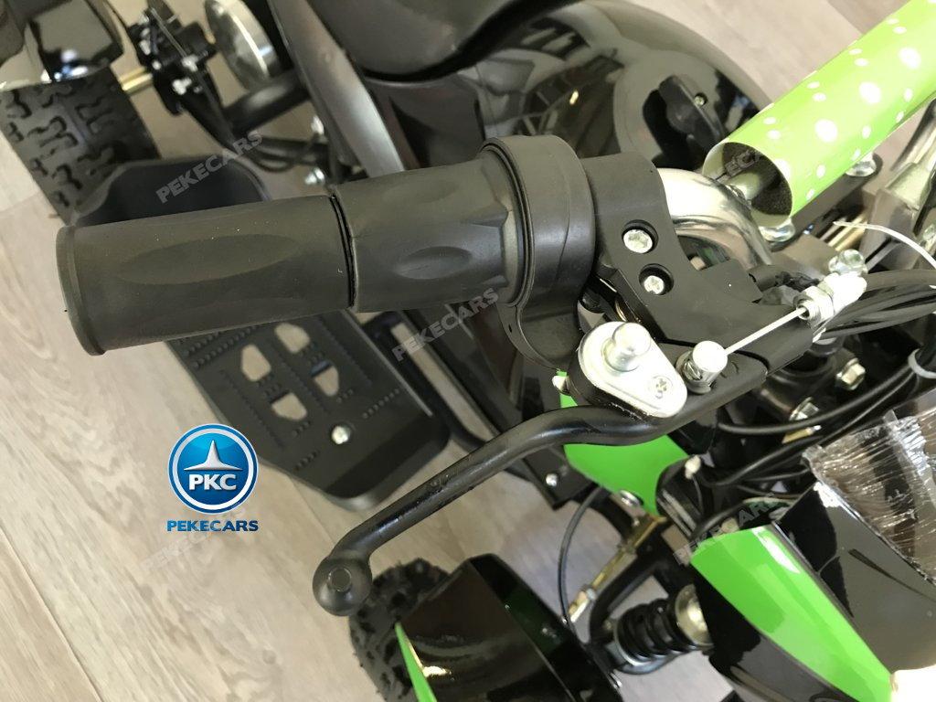 QUAD COBRA VERDE 36V - vista manillar con freno y acelerador width=