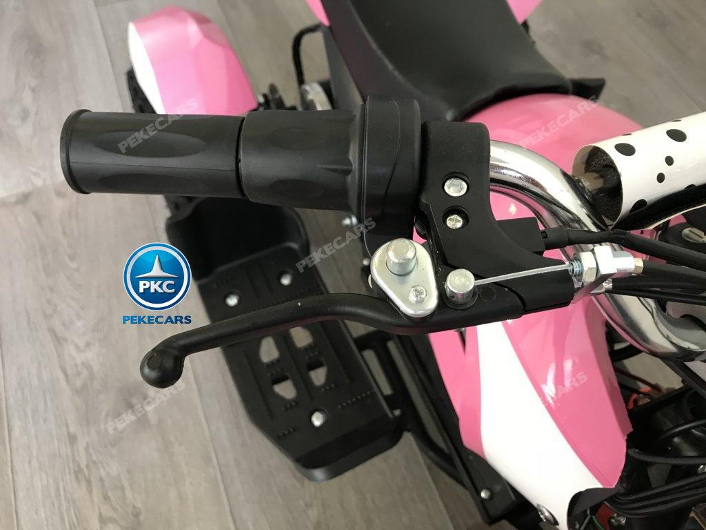 QUAD ELÉCTRICO COBRA 800W 36V ROSA- vista manillar con freno y acelerador