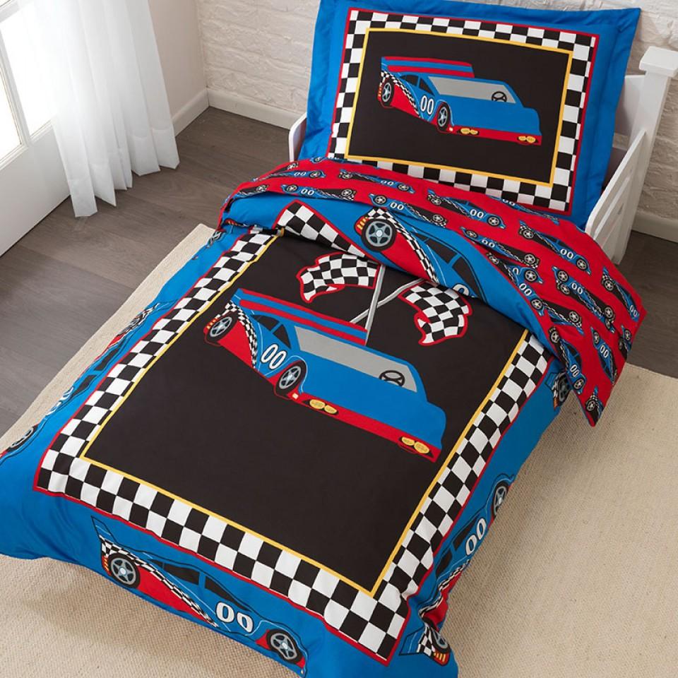 kidkraft ropa de cama infantil estilo coche de carreras vista principal