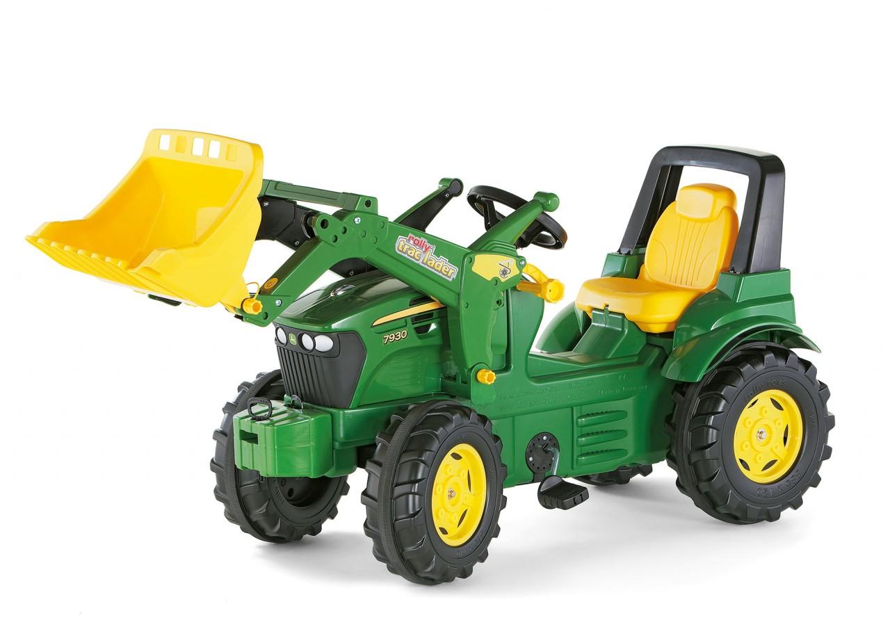 tractor a pedales John Deere con pala excavadora delantera